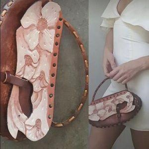 Boutique floral leather carved handle boho bag